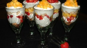 Strawberry Mango Macaroon Trifles
