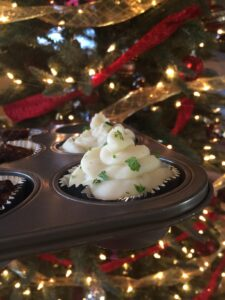 "Close Up of Meatloaf Mashed Potato Cupcakes for ""A Christmas Story"" Party"
