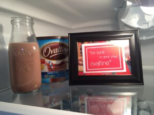 """Ovaltine in real milk glasses for """"A Christmas Story"""" Party"""