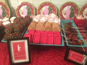 "Close Up of Setup for ""A Christmas Story"" Party - HoHoHoreos and Snickerdoodles added"